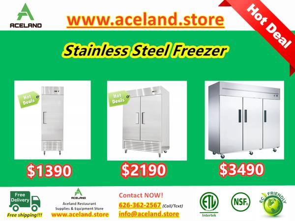 Photo NSF 123-door Commercial Stainless Steel Solid Door Reach-in Freezers - $1,390 (Free Shipping 100 New)