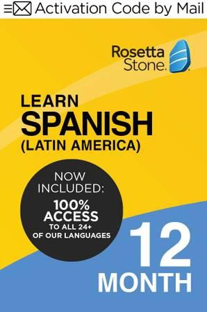 Photo Rosetta Stone Learn Spanish (Latin America)12 Months PCMac Keycard - $55 (Arlington)