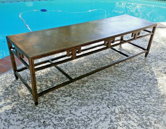 Photo Vintage Asian Burl Wood Baker Furniture Coffee Table MCM - $500 (DALLAS)