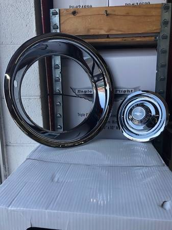 Photo Chevy Rally Wheels 15x8, 15x7 with Triple Chrome Plated Stainless Stee - $499 (Collinsville)