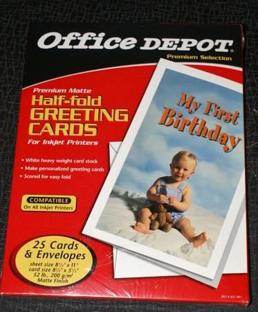 Photo Office Depot Half-fold Greeting Cards for Inkjet Printers - $5 (GREENSBORO)
