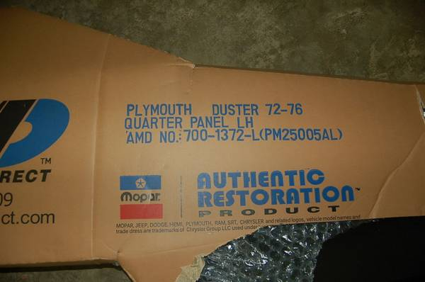 Photo 1972-76 PLYMOUTH DUSTER LEFT QUARTER PANEL - $225 (Ludlow Falls)