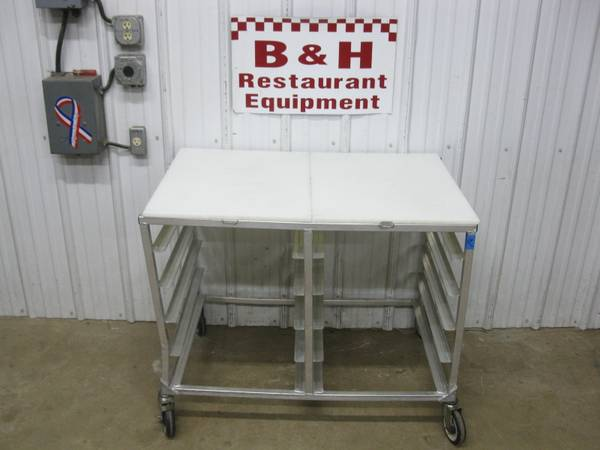 Photo 40quot x 26quot Poly Cutting Board Top Aluminum Mobile Table Sheet Pan Rack - $175 (Clayton, OH)