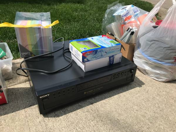 Photo Curb Alert - FREE stuff - 5 Disc CD Player - weathered Rocker - Picnic Supplies (Oakwood)