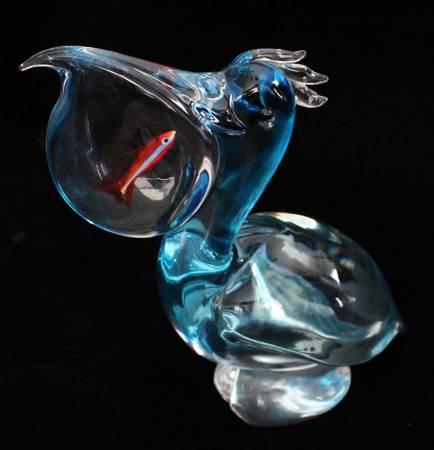 Photo OGGETTI Art Glass by Elio Raffaeli, Murano, Italy Pelican wFish in Po - $250 (Springboro)