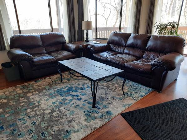 Photo Leather Couches (well worn) - $30 (Mahomet)