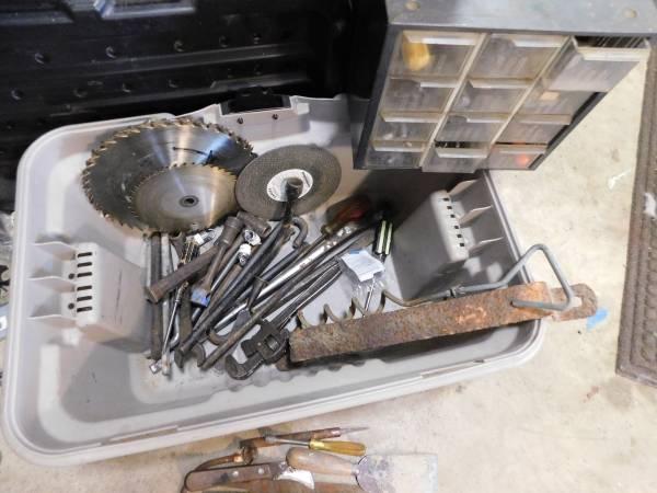 Photo Old Tools, Filled Metal Storage Box etc. - $40 (Weldon)