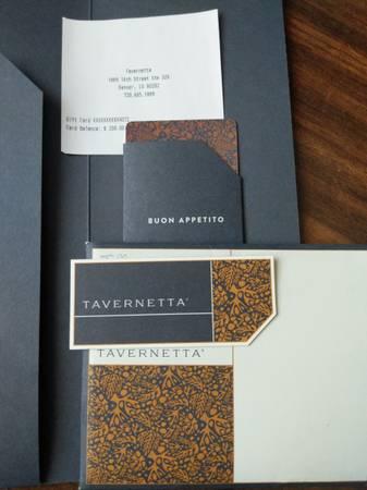 Photo $200 Tavernetta Gift Card - $160 (Aurora)