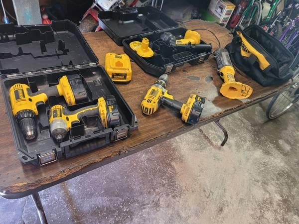 Photo 3 Dewalt 18 Volt Drills, Batteries, Charger, Cases, Work Great