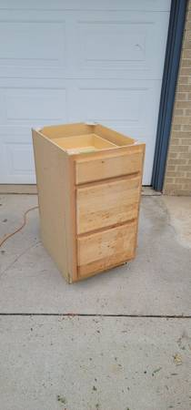 Photo 3 drawer unfinished cabinet - $70 (Denver)