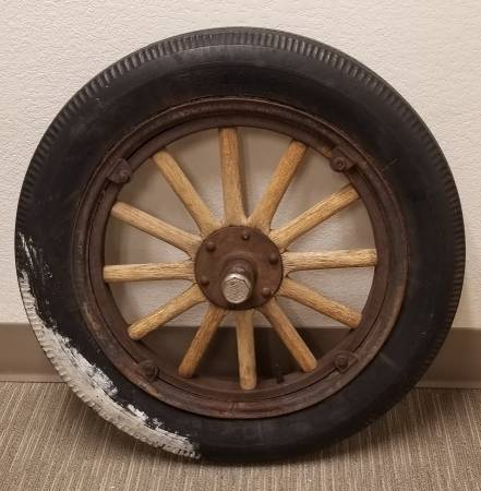 Photo Ford Model T Wheel, Rim, Tire, Wood Spokes, and Hubcap - $350 (Arvada)