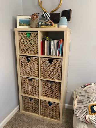 Photo Ikea Kallax 8 Cube Unit w 7 Wicker Baskets - $125 (North Park Hill)