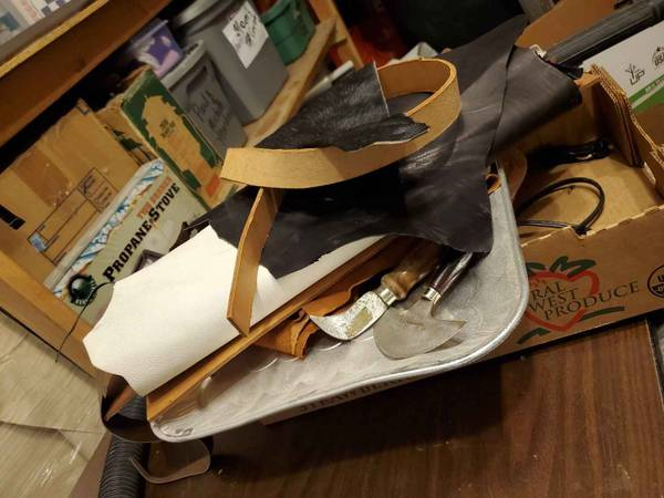 Photo Leather scraps and leather working tools - $10