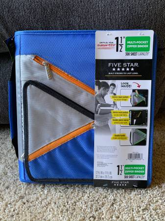 Photo Ring Binder with Zipper Pocket - Five Star Mead 1.5quot - Blue - New - $25 (Broomfield - Ring Binder with Zipper Pocket Blue New)