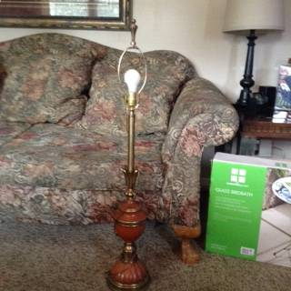 Photo 42quot vintage burnt orange and brass l - $25 (Des Moines Iowa)