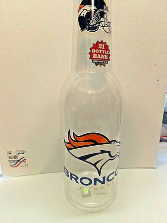 Photo Denver Broncos Bottle Bank 21quot Tall NFL Approved. Made In The USA - $10 (Des Moines Iowa)
