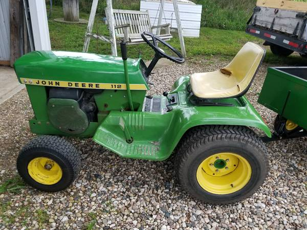 Photo John Deere 112 with trailer - $700 (Dedham)