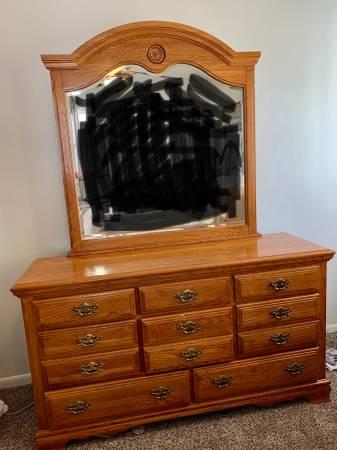 Photo Large oak dresser with mirror - $150