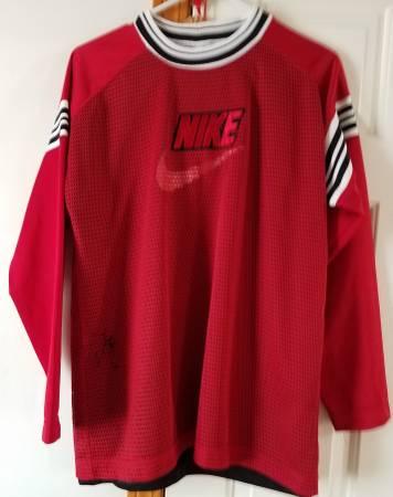 Photo Nike Red 80s Vintage Red Fishnet Mesh Mens T-Shirt Black Lining - $10 (Johnston)