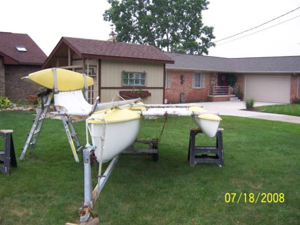 Photo 18FT Trimaran quotSailbirdquot Sailboat and Trailer - $1,000 (Holly, MI)