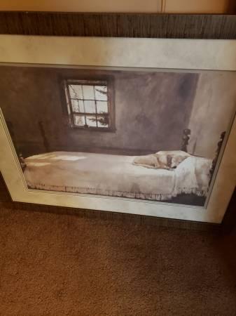 Photo Andrew Wyeth Framed Print Master39s Bedroom Dog napping On Bed - $50 (Roseville)