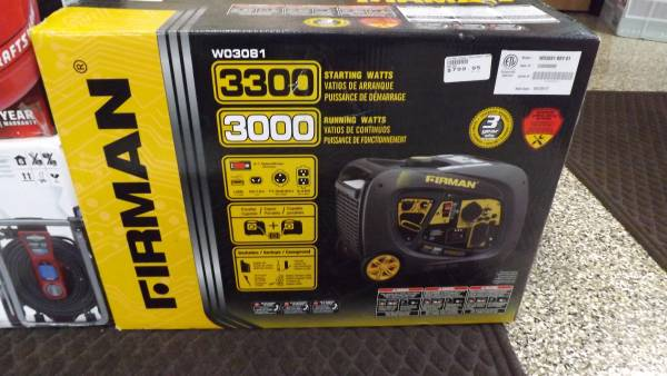 Photo FIRMAN POWER 3000 WATT PORTABLE GAS INVERTER GENERATOR  W03081 - $700 (OAK PARK)