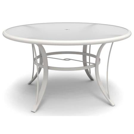 Photo Hton Bay Riverbrook White Round Glass Top Aluminum Dining Table - $125 (Brighton  Farmington Hills)