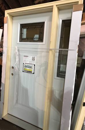 Photo New 54x83 steel exterior door with side lite, decorative glass - $600 (Southfield)