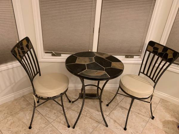 Photo Pier 1 Imports 24 inch Indoor  Outdoor Garden Patio Accent Slate Table with 2 C - $250 (Utica)