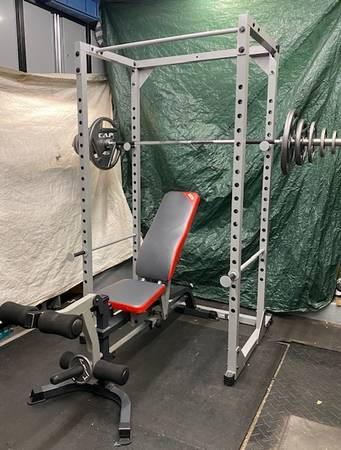 Photo Power Cage Squat Rack  Bench  Olympic Weight Set - $455 (16  Van Dyke)