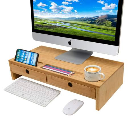 Photo Zri Bamboo Monitor Stand Riser with Drawers - Bamboo Desk Organizer - $30 (Sterling Heights)