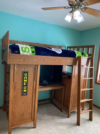Photo Custom oak twin loft bed - $500