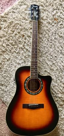 Photo Fender Cutaway T-Bucket 300CE Tobacco Burst AcousticElectric Guitar - $240 (Dubuque)