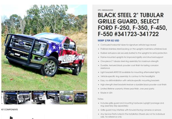 Photo Ford Super Duty Black Grill Guard 2017 and newer - $425 (Platteville)