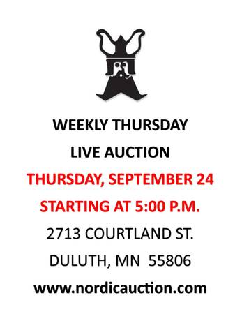 Photo Another Nordic Auction, Thurs., Sept. 24, Nordic (Duluth, MN)