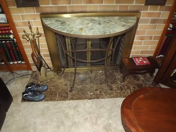 Photo For sale- Pier One marble and hammered metal half round table- excell. - $70 (Cloquet, MN)
