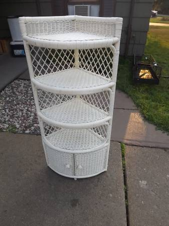 Photo For sale vintage white wicker corner shelf with lower cabinet - $75 (Cloquet MN)