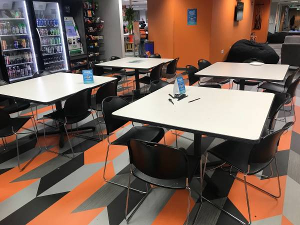 Photo 7 Break Room  Cafeteria Tables, 4ft x 4 ft x 30 inch tall. - $75 (Lakewood)