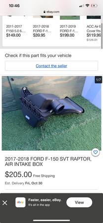 Ford raptor f150 v6 twin turbo stock intake box - $79 (Southeast aurora)