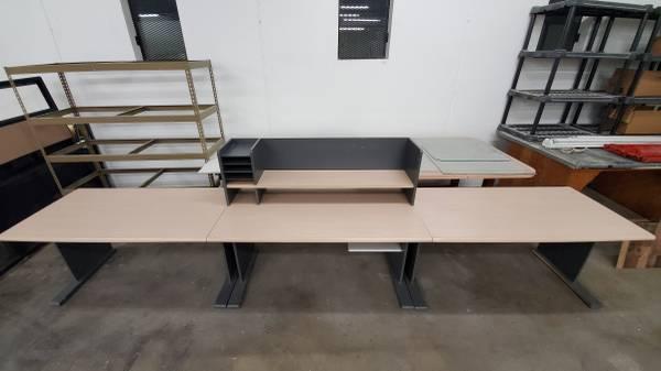 Photo Large 3-piece Desk Workspace approx 42 sqft - $150