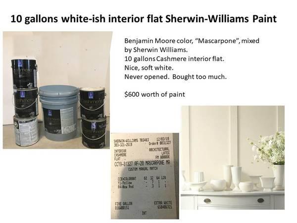 Photo Paint - 10 gal Sherwin-Williams white-ish (Mascarpone) - $150 (Denver central-ish Leetsdale  Holly)