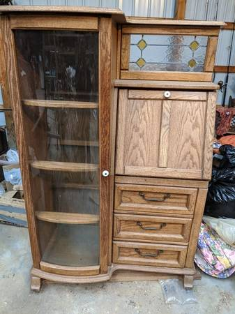 Photo Farmhouse Cottage Solid Oak Secretary Desk Curio Kitchen China Cabinet - $135 (Berlin West Ocean City)