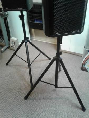 Photo PEAVEY DM 112 POWER SPEAKERS -dj- with STANDS  More - $450 (Laurel, DE)