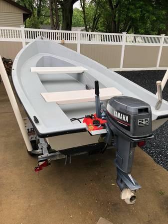 Photo SALE PENDING 1639 fiberglass boat, motor, trailer skiff, crabbing - $4,000 (Talbot County)