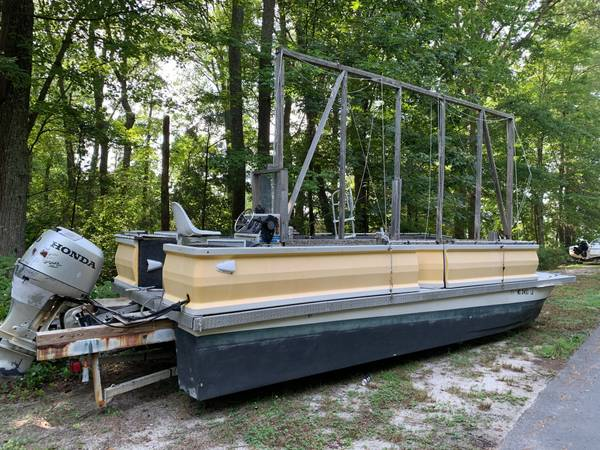 Photo Sign Boat for sale Pontoon Boat with Scissior Trailer - $5,500 (Ocean City, MD)