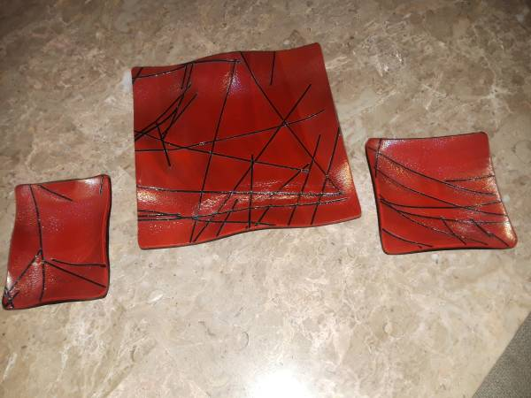 Photo 3 Piece Art Glass Serving Plates - $100 (Caldwell, ID)
