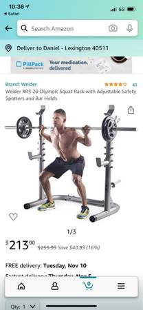 Photo Weider XRS 20 Olympic Squat Rack with Adjustable Safety Spotters and Bar Holds, - $189