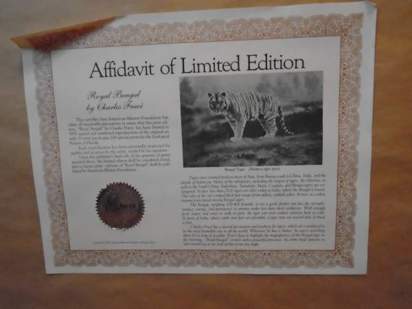 Photo Charles Frace Bengal Tiger Limited Edition - $50 (NEW BERN)