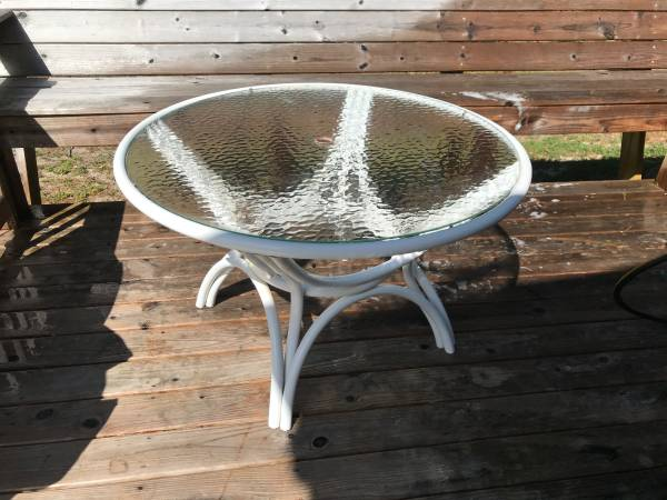 Photo Glass Top Patio Table - $50 (Greenville)