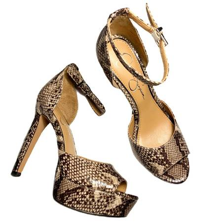 Photo Jessica Simpson Beeya Neutral Snake HighPlatform Ankle Strap Peep Pump - $35 (Greenville)